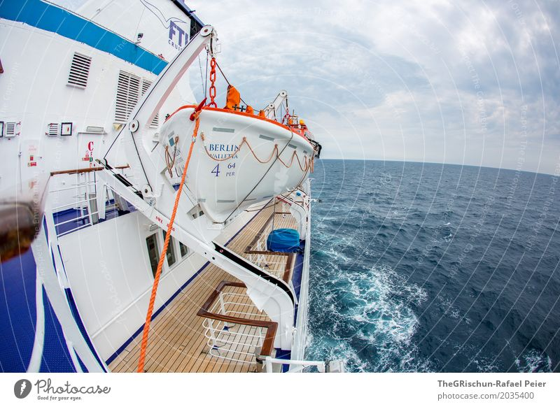 boat trip Means of transport Blue Brown Orange White Cruise liner Dinghy Water Sea water Ocean Far-off places Calm To enjoy Travel photography Navigation