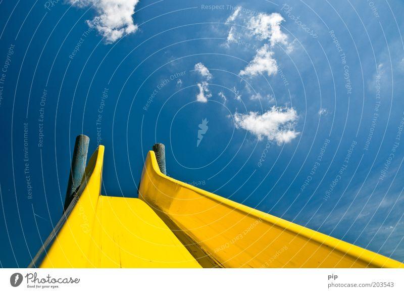 flextime Slide Playground Sky Clouds Summer Beautiful weather Blue Yellow Infancy Kindergarten Park Downward Upward Multicoloured Deserted Day Sunlight