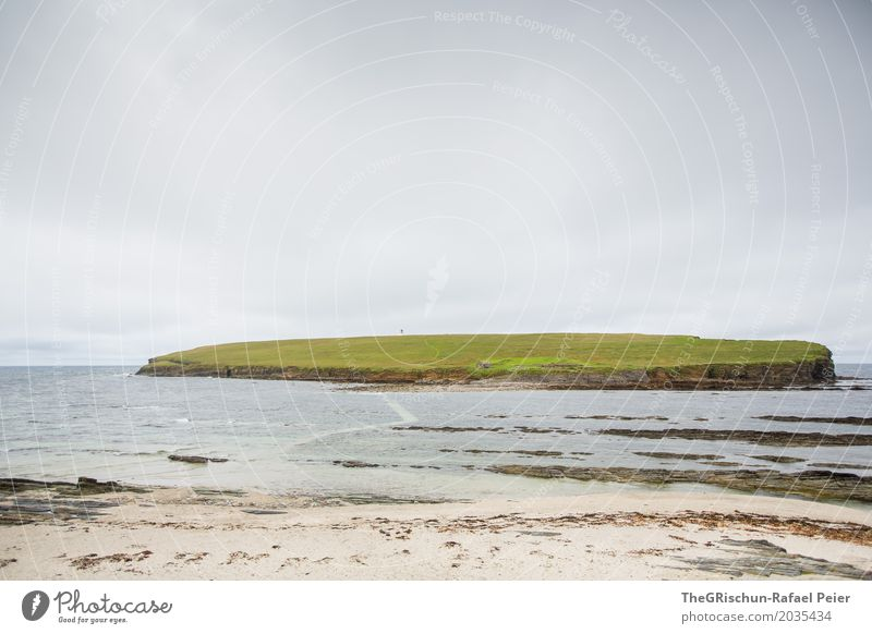 island Environment Nature Landscape Water Gray Green Black Island House (Residential Structure) Pasture Ocean Clouds Sand Beach Far-off places Orkney islands