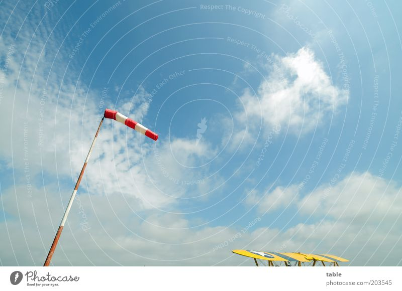 Sky Nature White Blue Red Clouds Far-off places Yellow Freedom Environment Weather Wind Wait Airplane Aviation Stand