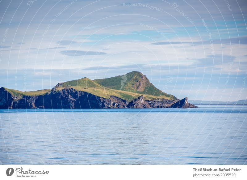 Island off Iceland Environment Nature Landscape Blue Green White Water Loneliness Going North Mountain Rock Pasture Sky Clouds Ocean Colour photo Exterior shot