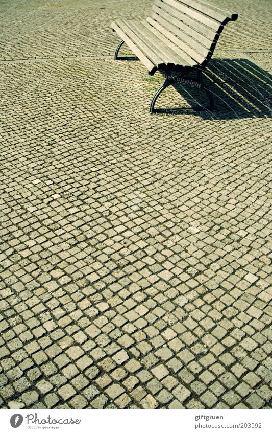 Calm Loneliness Far-off places Places Empty Break Bench Simple Cobblestones Boredom Seating Paving stone Park bench Furniture Tanning bed Wooden bench