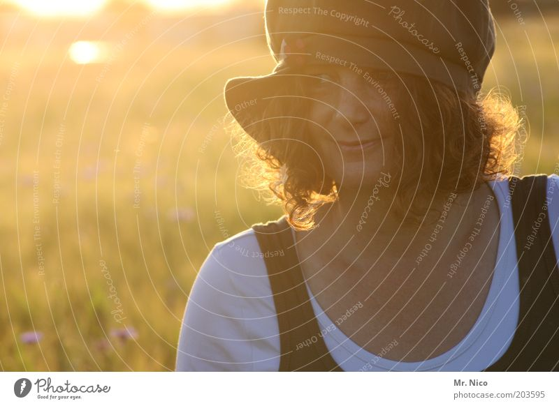 summer evening Woman Adults Head Hair and hairstyles Face Environment Nature Landscape Sunrise Sunset Sunlight Summer Field Cap Red-haired Curl Dream