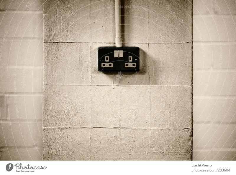 UK Power Supply Socket Wall (building) Black Black & white photo Rendered facade Plaster White Switch Cable Transmission lines Electricity Power consumption