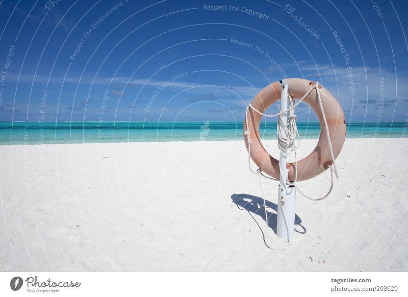 ORIGINAL RESCUE Vacation & Travel Life belt Freedom Idyll Colour photo Horizon Loneliness Calm Sand Beach Nature Maldives Travel photography Idyllic beach Ocean