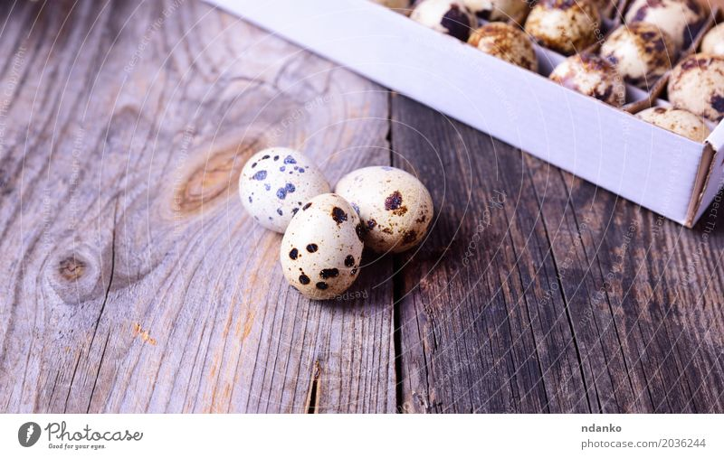 Three fresh quail eggs on a gray wooden surface Food Eating Breakfast Diet Table Easter Group Nature Wood Fresh Small Natural Above Brown Gray Tradition Useful
