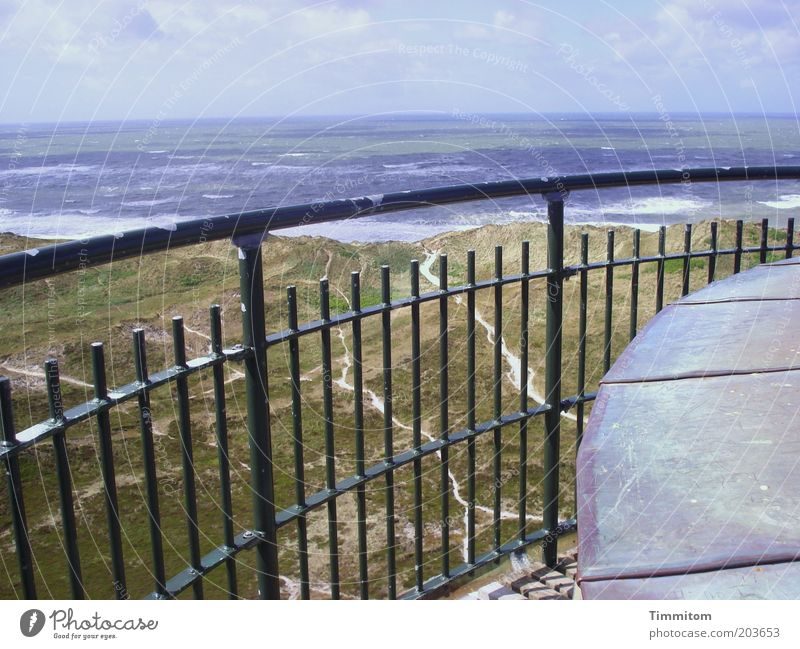 View from the lighthouse Vacation & Travel Far-off places Freedom Summer Ocean Environment Nature Landscape Elements Coast North Sea Horizon Handrail