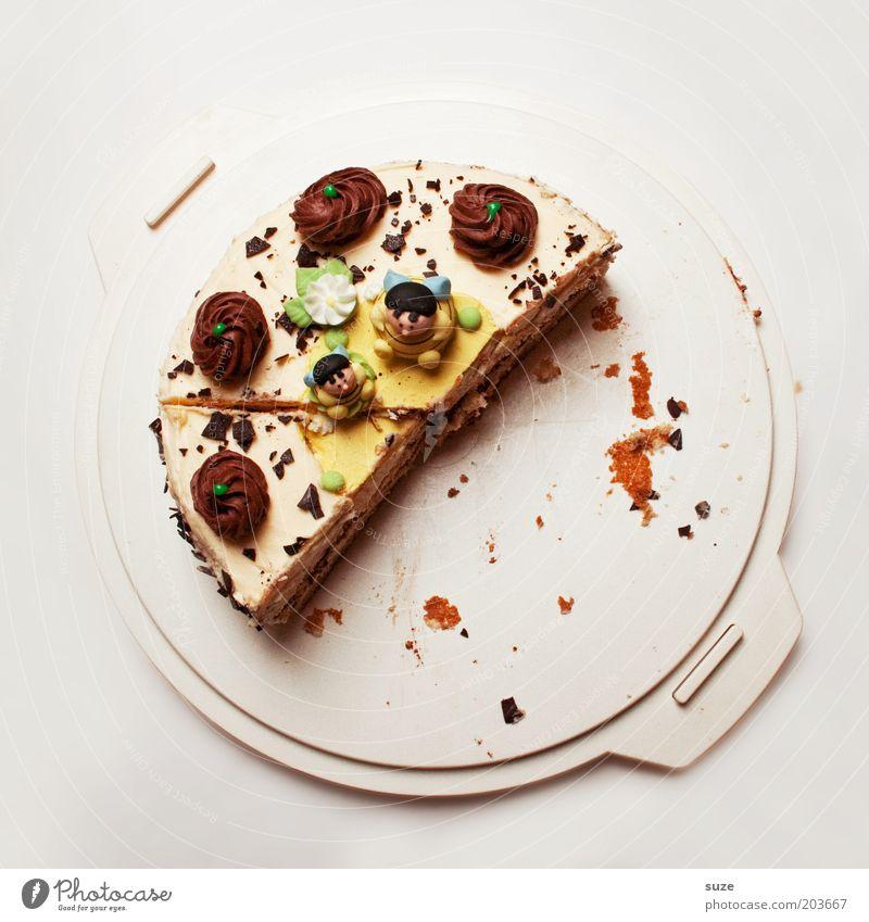 half Cake Dessert Candy Gateau Cake plate Piece of gateau Nutrition Feasts & Celebrations Birthday Delicious Voracious Lack of inhibition Debauchery Calorie