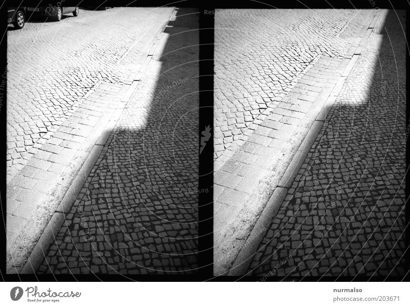 Curbstone in corner contrast Art Environment Deserted Transport Street Curbside Paving stone Pattern Esthetic Authentic Dark Sharp-edged Simple Stagnating