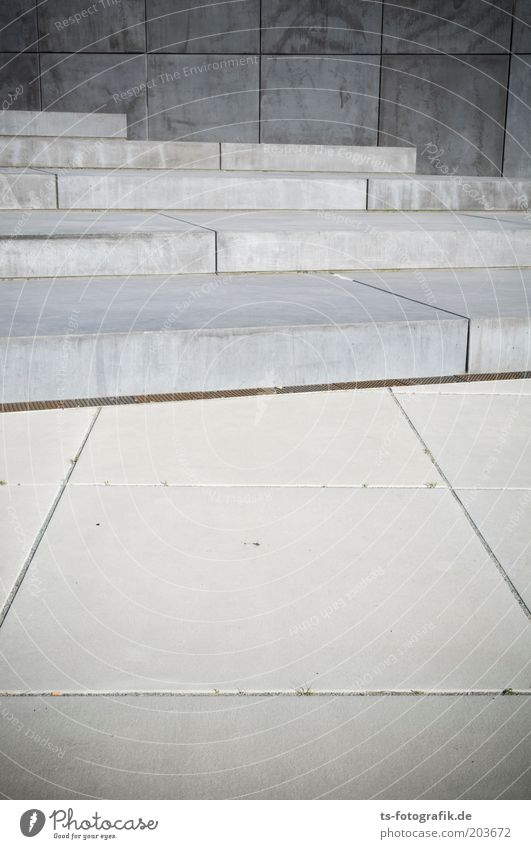 hard disk gray Architecture Stone slab Places Stairs Concrete Line Esthetic Sharp-edged Cold Gray Perspective Symmetry Colour photo Subdued colour Exterior shot