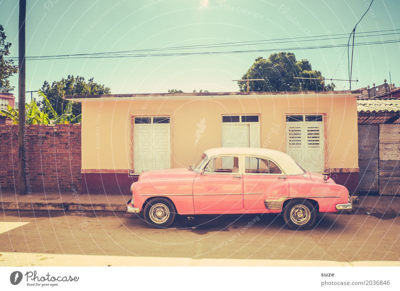 Vacation & Travel Old Summer Street Lifestyle Feminine Exceptional Time Pink Design Car Retro Fantastic Transience Cool (slang) Past