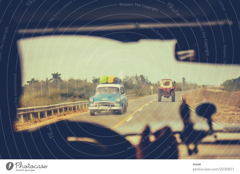 Vacation & Travel Street Time Car Retro Transience Past Summer vacation Flair Traffic infrastructure Cuba Rural Means of transport Vintage car Iconic Tractor