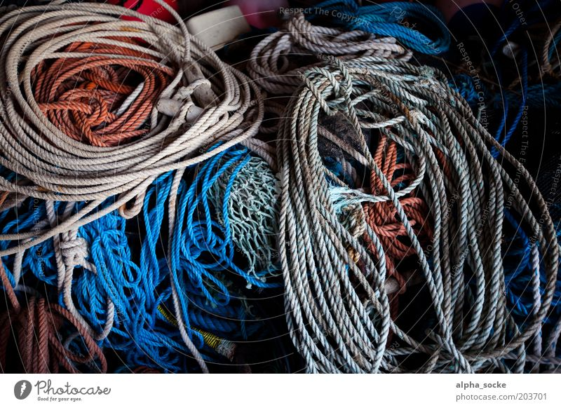 tools Workplace Rope Navigation Fishing boat Plastic Knot Work and employment Hunting Old Firm Blue Brown Arrangement Safety Dew Colour photo Interior shot