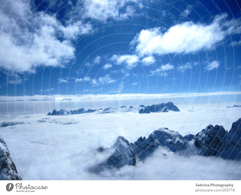 Sky Nature Blue Vacation & Travel Clouds Winter Snow Mountain Landscape Moody Fog Might Alps Peak Beautiful weather Aerial photograph