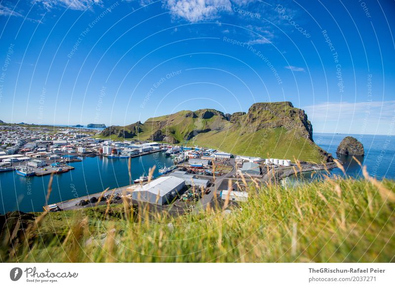 Heimaey II Environment Nature Landscape Blue Green Iceland Industry Fishing port Harbour Island Hill Vantage point Panorama (View) Watercraft