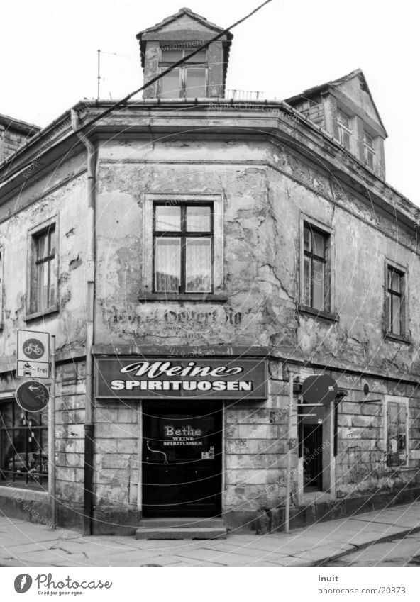 House (Residential Structure) Architecture Dresden Store premises Decline Saxony Black & white photo