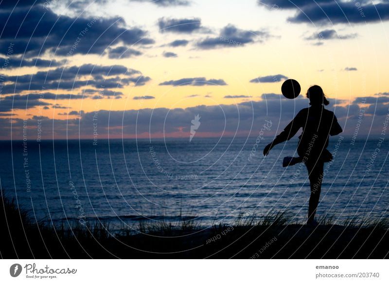 Human being Youth (Young adults) Vacation & Travel Summer Ocean Beach Joy Black Sports Playing Coast Horizon Waves Soccer Ball Young woman