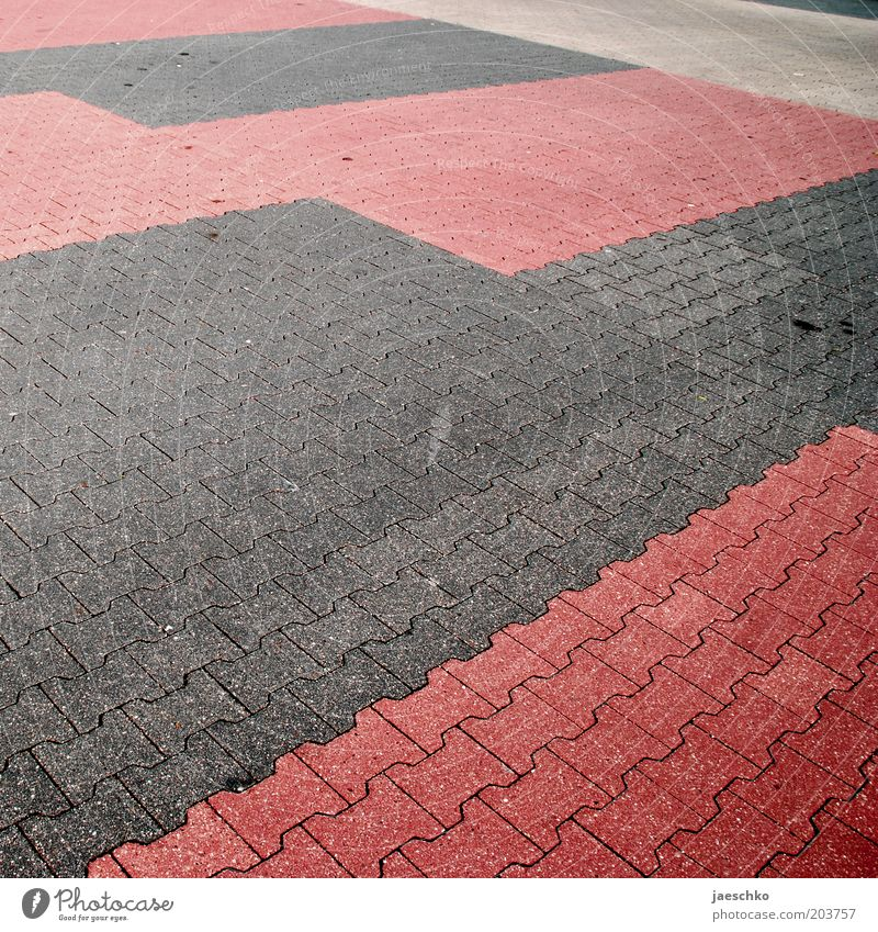 Sunday Gray Red Crisis Parking lot Empty Oil slick Paving stone Parking space Square Free Colour photo Exterior shot Structures and shapes Deserted