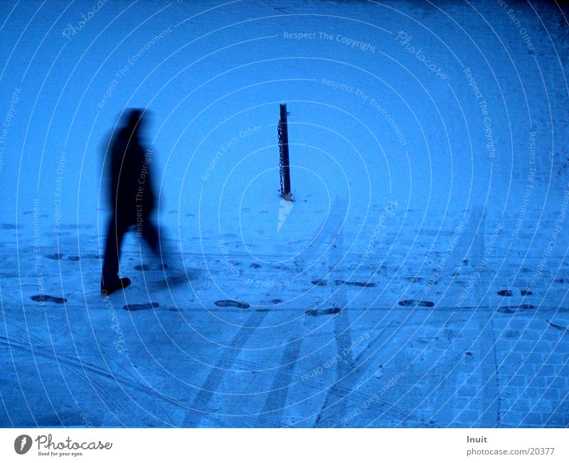 trackers Tracks Loneliness Man Snow Blue Morning Blur
