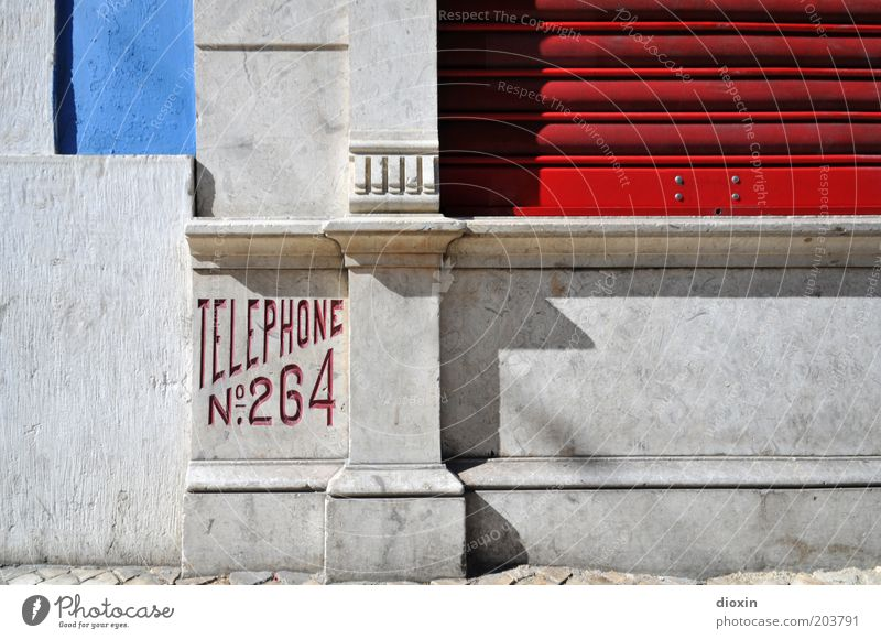 Blue Red House (Residential Structure) Wall (building) Gray Wall (barrier) Building Architecture Telephone Europe Communicate Telecommunications Contact Connection Manmade structures