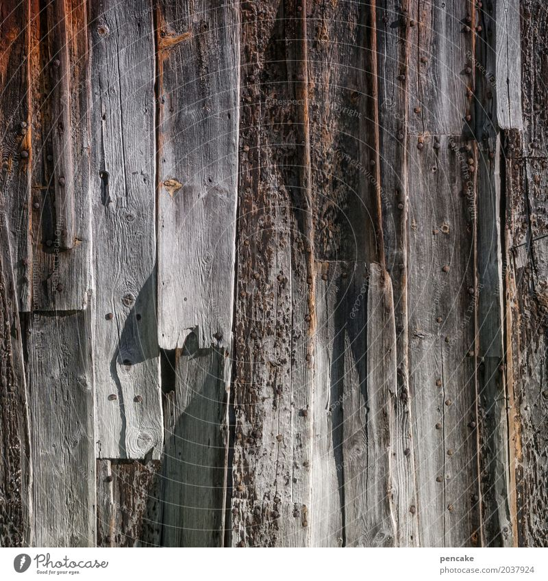 wood preservation Hut Facade Wood Old Esthetic Authentic Good Wooden wall Wooden hut Norway Colour photo Exterior shot Close-up Structures and shapes