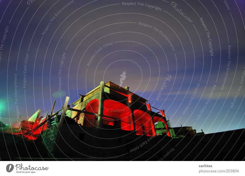 construction site Sky Night sky House (Residential Structure) Building Balcony Arch Illuminate Dark Uniqueness Blue Red Apocalyptic sentiment Colour Mysterious