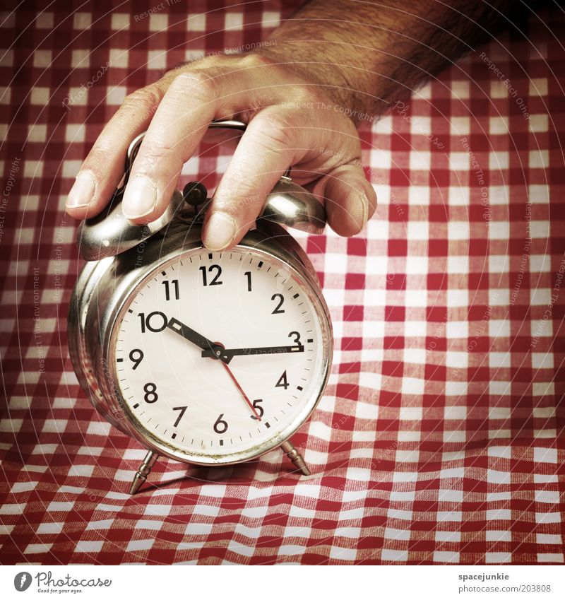 Man Hand White Red Time Fingers Clock Touch Fatigue Ceiling Checkered Late Pushing Crash Wake up