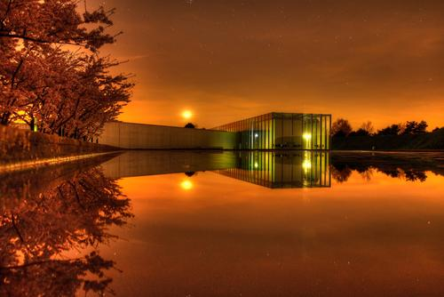 Langen Foundation Germany Architecture Culture Reflection museum Cherry blossom Exterior shot Aerial photograph Night Light Long exposure Wide angle
