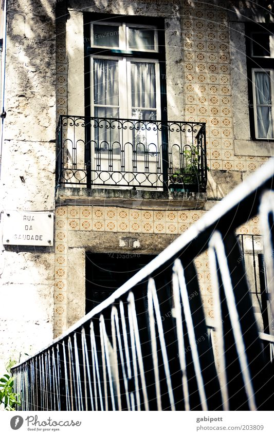 Room with a view Lisbon Portugal Town Old town Populated Architecture Balcony Window Door Curtain Handrail Tile Tourist Attraction Authentic Exceptional