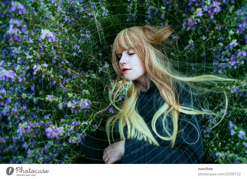 Young blonde woman lying over rosemary bush Herbs and spices Lifestyle Healthy Human being Feminine Young woman Youth (Young adults) 1 18 - 30 years Adults