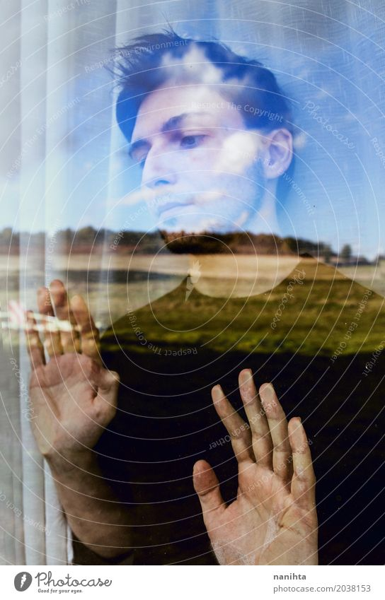 Young man looking nature through a window Human being Sky Nature Youth (Young adults) Young man Landscape Loneliness Window 18 - 30 years Adults Environment Life Lifestyle Senior citizen Emotions Art