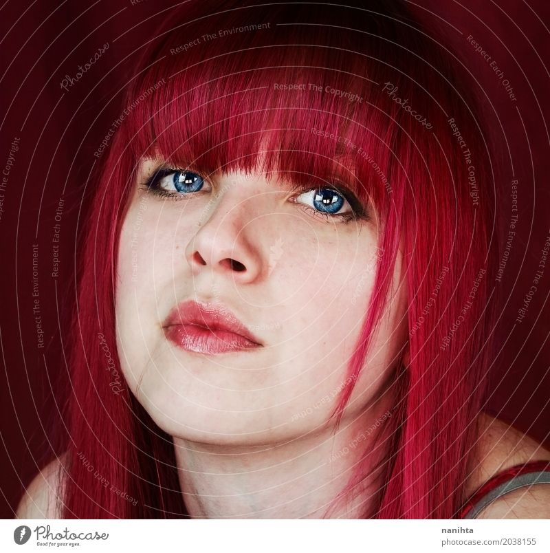 Young woman with pink hair and blue eyes Feminine Youth (Young adults) Head 1 Human being 18 - 30 years Adults Hair and hairstyles Red-haired Exceptional