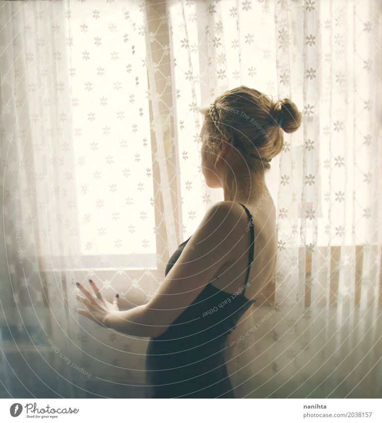 Silhouette of a young woman near a vintage curtains and a window Human being Youth (Young adults) Young woman Beautiful Relaxation Loneliness Calm 18 - 30 years