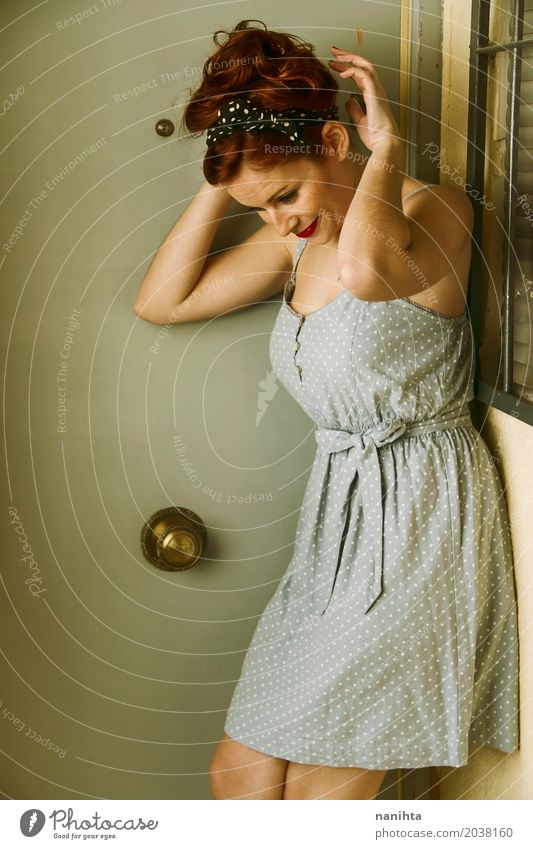 Young redhead woman with pin up appearance Lifestyle Elegant Style Beautiful Feminine Young woman Youth (Young adults) 1 Human being 18 - 30 years Adults Window