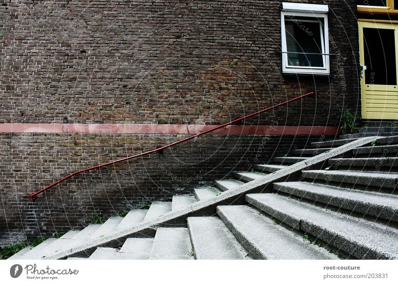 Red House (Residential Structure) Wall (building) Window Gray Wall (barrier) Stone Building Line Brown Door Concrete Stairs Growth Planning Target
