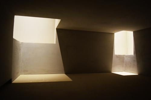 Light is Architecture Deserted Replication architectural model Museum refugium Temple Concrete Esthetic Dark Simple Cold Modern Black White Design Loneliness