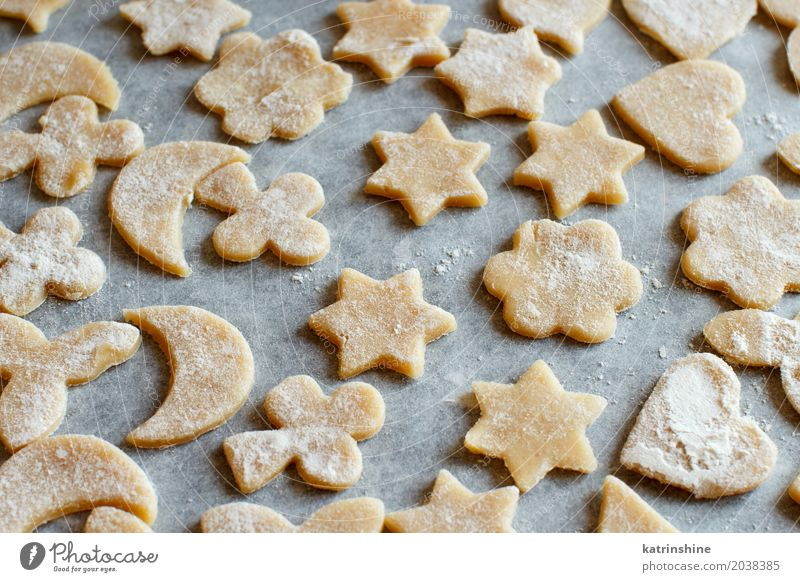 Close up of cookies before oven on a paper Dough Baked goods Dessert Kitchen Heart Make Baking Bakery biscuit cooking Cutter Knife Flour food Home-made