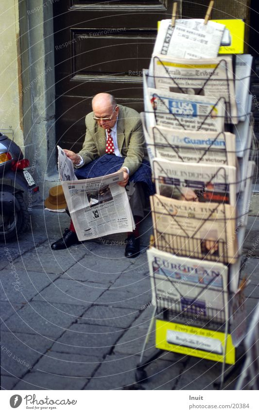 Man Sit Reading Newspaper Italy Tuscany Literature Florence
