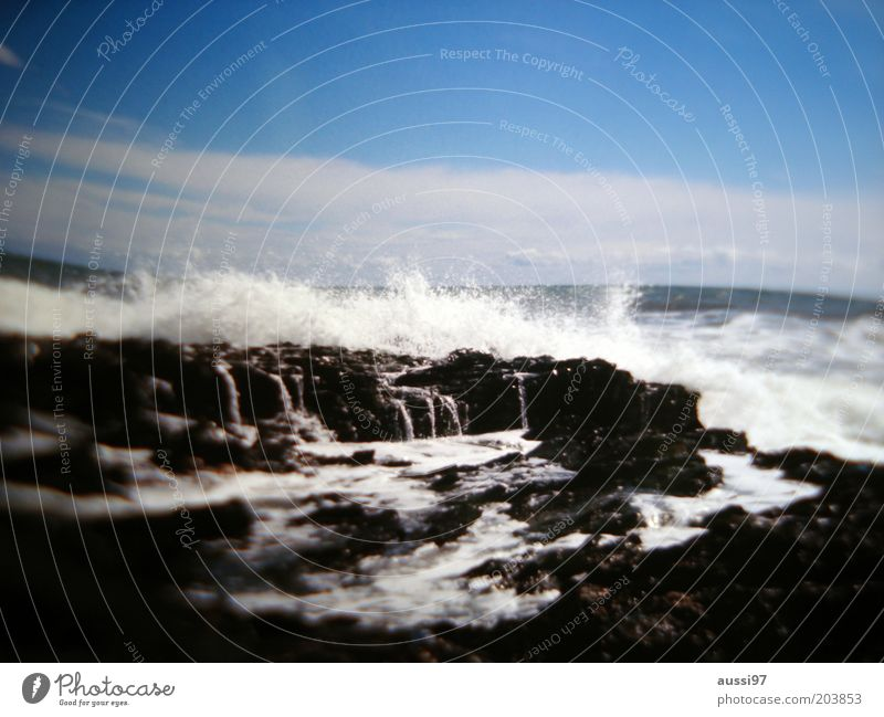 powers Ocean Surf Coast Waves Gale Deserted Force of nature White crest Blue sky