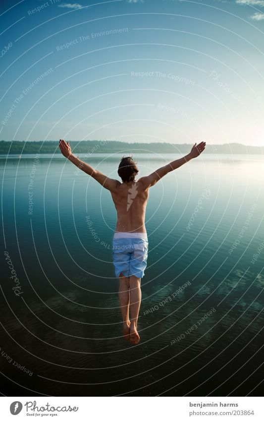 Human being Nature Youth (Young adults) Summer Ocean Joy Adults Far-off places Freedom Happy Jump Lake Body Swimming & Bathing Arm Exceptional