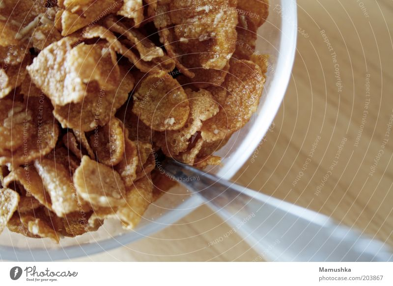 Wood Healthy Brown Glass Sweet Good Simple Wellness Near Breakfast Delicious Bowl Spoon Cornflakes