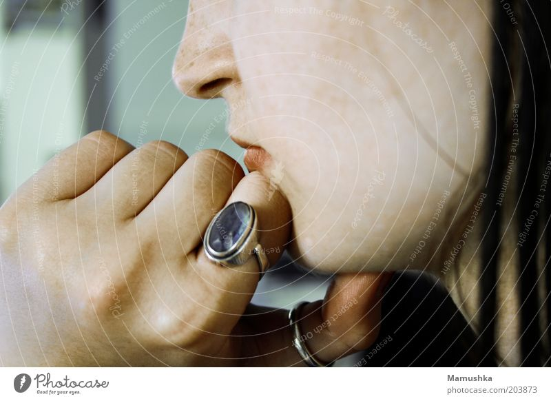 Hand Blue Calm Feminine Head Think Natural Cool (slang) Meditative Ring Silver Young woman Patient Chin Disciplined