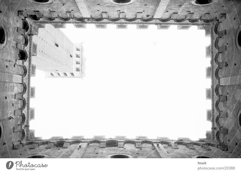 Skywards Italy Merlon Architecture Black & white photo Siena Wall (barrier)