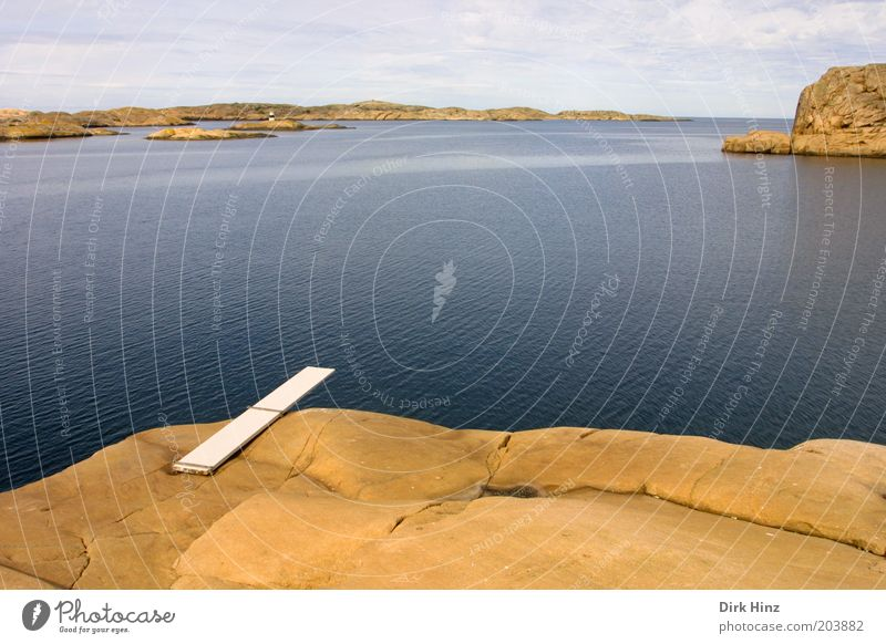 Springboard in Smögen Trip Summer vacation Ocean Nature Landscape Air Water Horizon Beautiful weather Coast Bay Fjord Deserted Athletic Exceptional Infinity