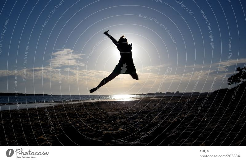 caper Woman Adults Air Water Sky Sun Summer Beach Movement To enjoy Jump Free Happy Infinity Positive Joy Contentment Joie de vivre (Vitality) Anticipation