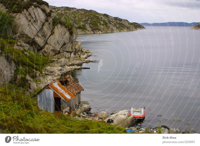 Norwegian Bay Environment Nature Landscape Air Water Fjord Deserted Hut Ruin Dinghy Broken Gloomy Gray Green Calm Loneliness Decline Past Transience