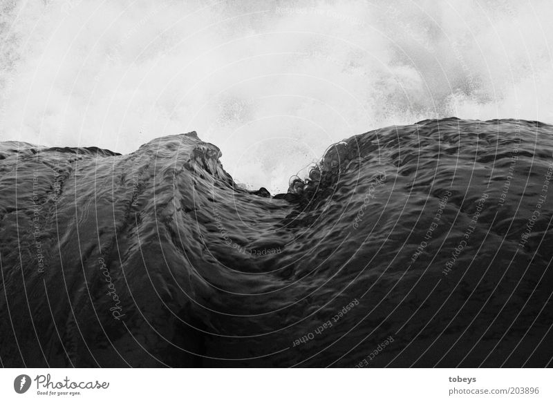mightily Water Climate change Waves Ocean Monsoon Might Surf Agitated Black & white photo Exterior shot Shadow Contrast Undulating Swell Undulation Wave action