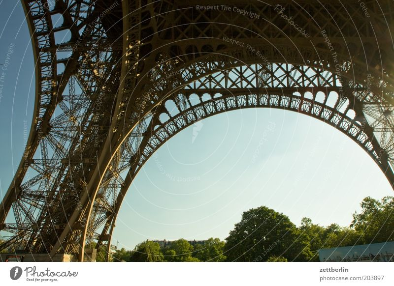 Sky Summer Vacation & Travel Travel photography Paris Steel Landmark France Construction Iron Arch Prop Archway Rivet Eiffel Tower Foundations