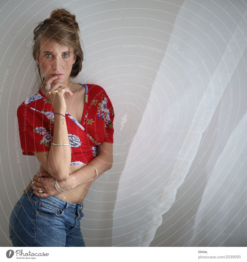 . Room Drape Feminine Woman Adults 1 Human being Shirt Jeans Jewellery Blonde Long-haired Braids Observe To hold on Looking Stand Curiosity Beautiful