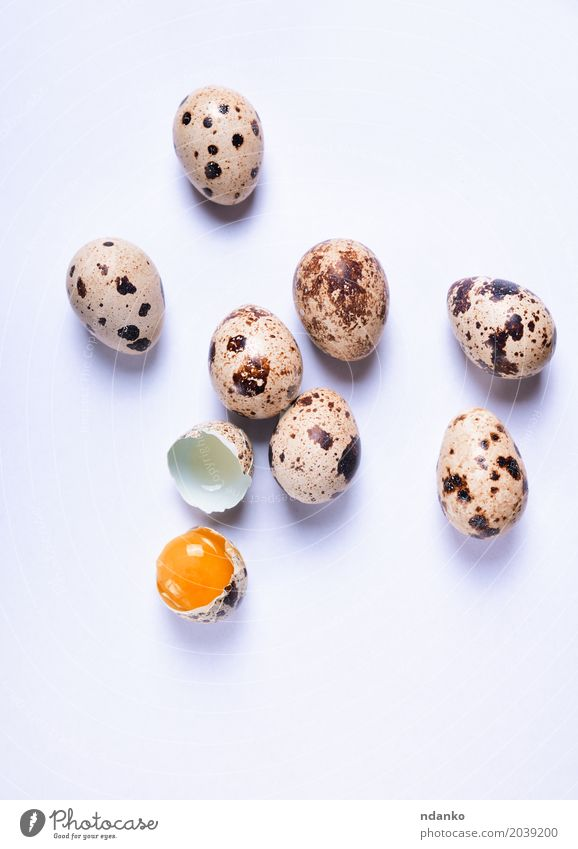 Fresh quail eggs on a white surface Nutrition Eating Breakfast Diet Table Easter Nature Small Natural Above Brown White Tradition Yolk eco Organic Farm Tasty